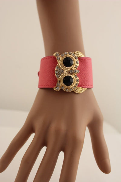 Aqua Blue / Pink / Light Pink / Black Faux Leather Strap Nude Bracelet Gold Metal Owl Head Black Rhinestone Fashion New Women Jewelry Accessories - alwaystyle4you - 19