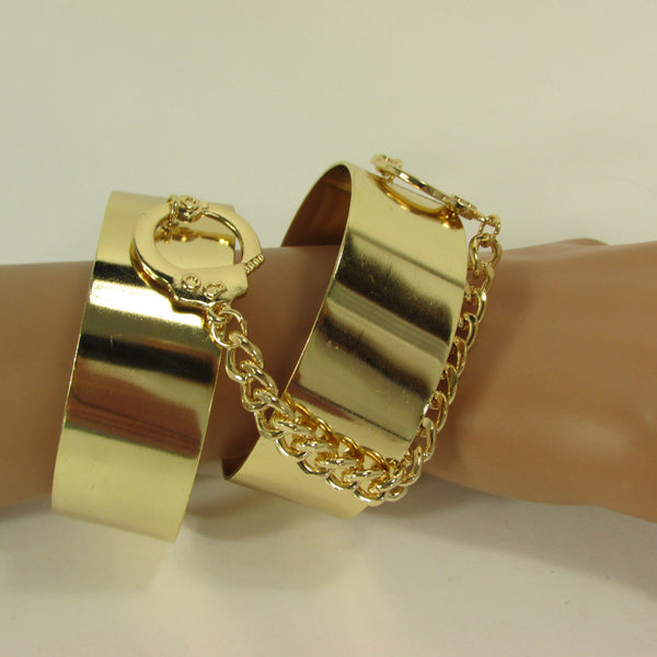 Gold Metal Plate Handcuffs Chain 2 Connected Bracelets Bangles New Women Fashion Jewelry Accessories - alwaystyle4you - 2
