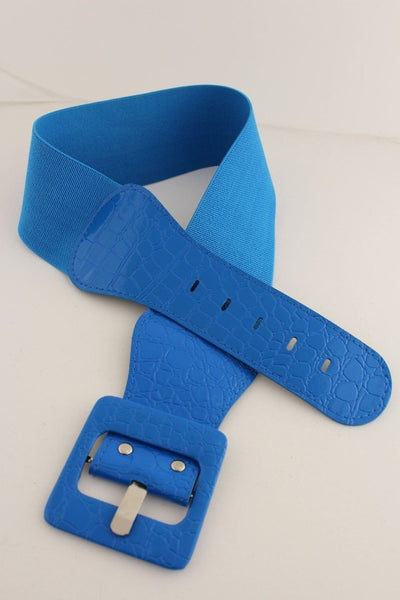Beige Orange Black Brown Blue Light Blue White Red Purple Pink Gold Green Elastic Stretch Hip High Waist Belt Big Square Buckle New Women's Fashion Accessories XS S M L XL - alwaystyle4you - 68