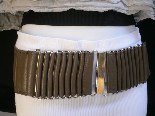 Beige Black Gray Brown Wide Waist Hip Belt Silver Metal Buckle New Women Fashion Accessories XS S M - alwaystyle4you - 13