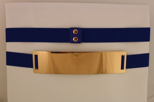 Light Brown (Mocha) / Dark Navy / Royal Blue / Gold Yellow / Black /Red / White Elastic Stretch Back High Waist Hip Belt Gold Metal Mirror Plate New Women Fashion Accessories Plus Size - alwaystyle4you - 22