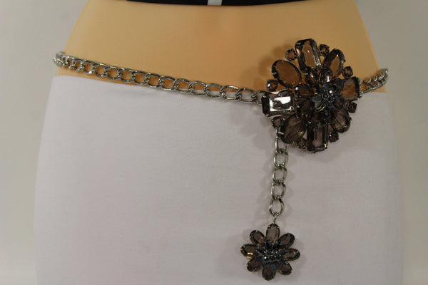 Clear Silver / Blue Silver / Brown Silver / Light Pink Silver Hip Waist Silver Metal Chain Belt Big Flower Buckle New Women Fashion Accessories XS To XL - alwaystyle4you - 22