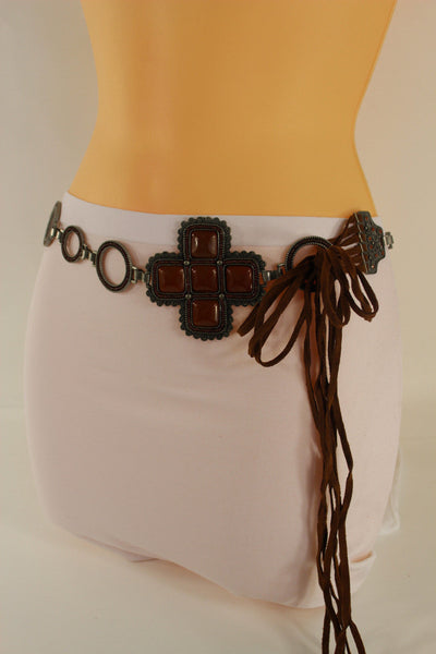 Red / Brown Hip Waist Metal Chain Belt Big Metal - Flower Charm Buckle New Women Fashion Accessories M L - alwaystyle4you - 23