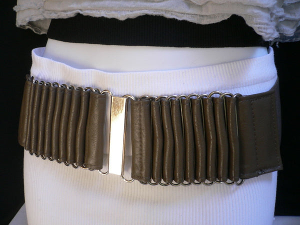 Beige Black Gray Brown Wide Waist Hip Belt Silver Metal Buckle New Women Fashion Accessories XS S M - alwaystyle4you - 19