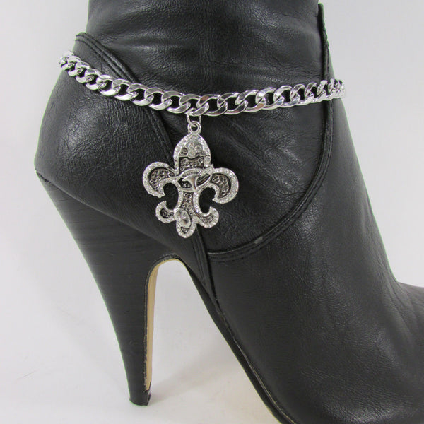 Silver Metal Chain Boot Bracelet Plain Fleur De Lis Lily Flower Charms Football Bull / Rodeo Horse / Horse Bow New Women Fashion Bling Jewelry - alwaystyle4you - 29