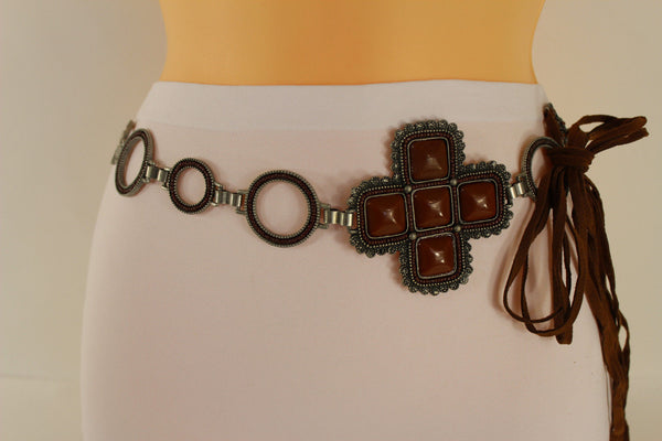 Red / Brown Hip Waist Metal Chain Belt Big Metal - Flower Charm Buckle New Women Fashion Accessories M L - alwaystyle4you - 24