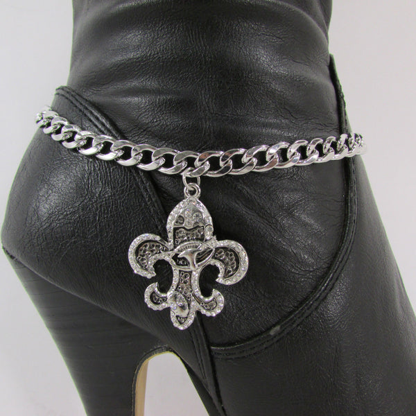 Silver Metal Chain Boot Bracelet Plain Fleur De Lis Lily Flower Charms Football Bull / Rodeo Horse / Horse Bow New Women Fashion Bling Jewelry - alwaystyle4you - 30