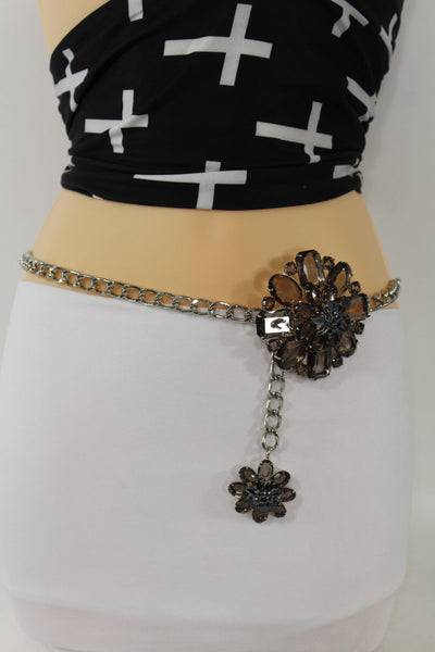 Clear Silver / Blue Silver / Brown Silver / Light Pink Silver Hip Waist Silver Metal Chain Belt Big Flower Buckle New Women Fashion Accessories XS To XL - alwaystyle4you - 24