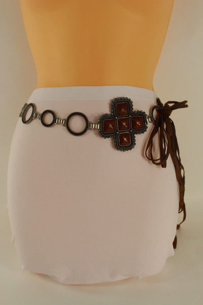 Red / Brown Hip Waist Metal Chain Belt Big Metal - Flower Charm Buckle New Women Fashion Accessories M L - alwaystyle4you - 26