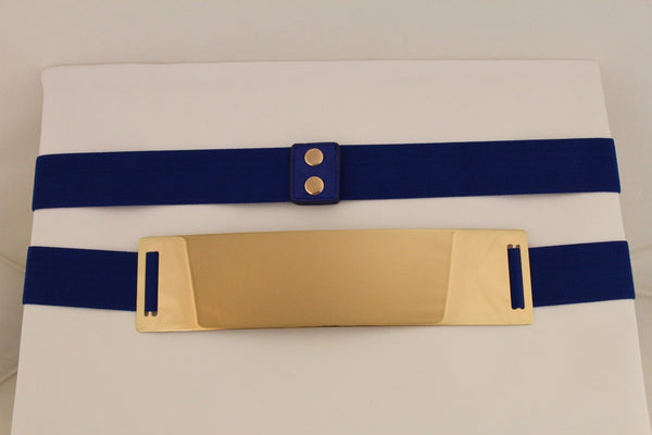Light Brown (Mocha) / Dark Navy / Royal Blue / Gold Yellow / Black /Red / White Elastic Stretch Back High Waist Hip Belt Gold Metal Mirror Plate New Women Fashion Accessories Plus Size - alwaystyle4you - 27