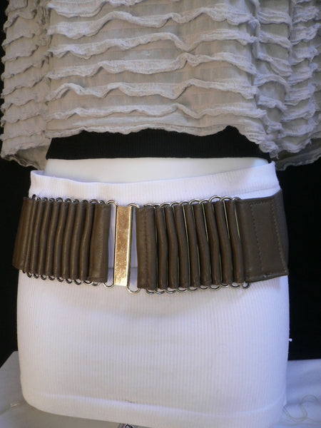 Beige Black Gray Brown Wide Waist Hip Belt Silver Metal Buckle New Women Fashion Accessories XS S M - alwaystyle4you - 37