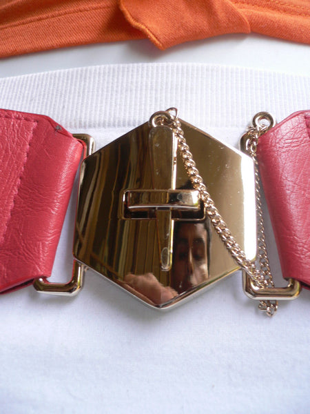 Blue Gray / Black /  Beige / Pink Coral Elastic Stretch Faux Leather Belt Gold Buckle Chains Big Cross New Women Fashion Accessories S M L - alwaystyle4you - 43