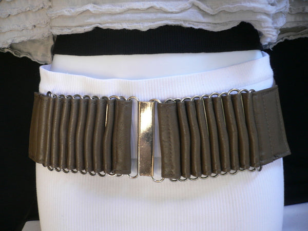 Beige Black Gray Brown Wide Waist Hip Belt Silver Metal Buckle New Women Fashion Accessories XS S M - alwaystyle4you - 4