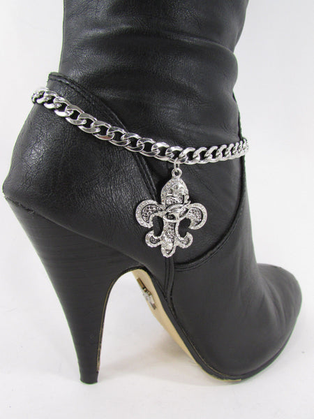 Silver Metal Chain Boot Bracelet Plain Fleur De Lis Lily Flower Charms Football Bull / Rodeo Horse / Horse Bow New Women Fashion Bling Jewelry - alwaystyle4you - 35
