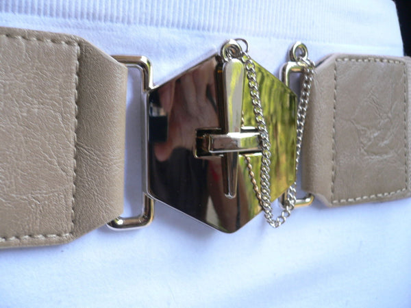 Blue Gray / Black /  Beige / Pink Coral Elastic Stretch Faux Leather Belt Gold Buckle Chains Big Cross New Women Fashion Accessories S M L - alwaystyle4you - 18
