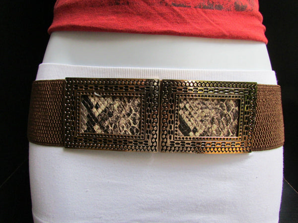 Black / Brown Hip Waist Stretch Belt Snake Print Moroccan Buckle Style Women Fashion Accessories Size S  M - alwaystyle4you - 15