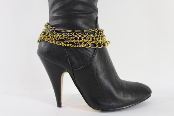 Gold / Silver Metal Wide Boot Chain Bracelet Anklet Link Shoe Charm Women Fashion Jewelry - alwaystyle4you - 5