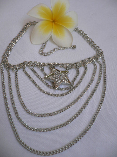 Gold / Silver Boot Big Star Multi Trendy Chain Silver Rhinestones Western Style - alwaystyle4you - 18