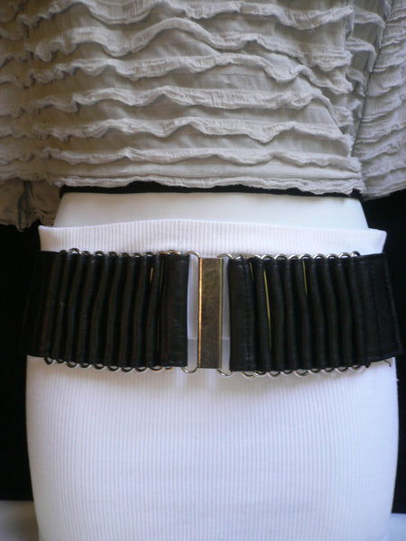 Beige Black Gray Brown Wide Waist Hip Belt Silver Metal Buckle New Women Fashion Accessories XS S M - alwaystyle4you - 23