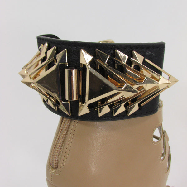 Gold Metal Spikes Boot Anklet Chain Bracelet Black Faux Leather Straps One Strap Shoe Women - alwaystyle4you - 3