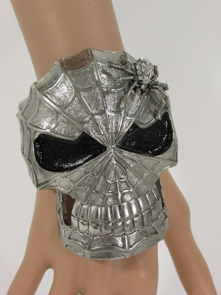 Silver Metal Cuff Bracelet Large Skull Rhinestones Spider Net Mask Skeletons - Halloween New Women Fashion Jewelry - alwaystyle4you - 8