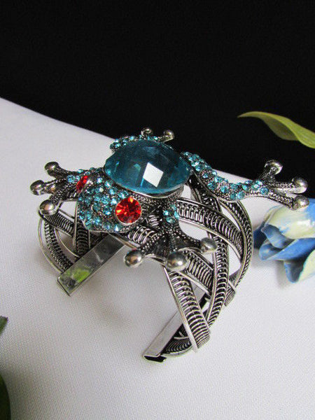 Silver Metal Cuff Bracelet Big Frog Black/Blue/ White Rhinestone Beads Red Eye New Women Fashion Jewelry Accessories - alwaystyle4you - 6