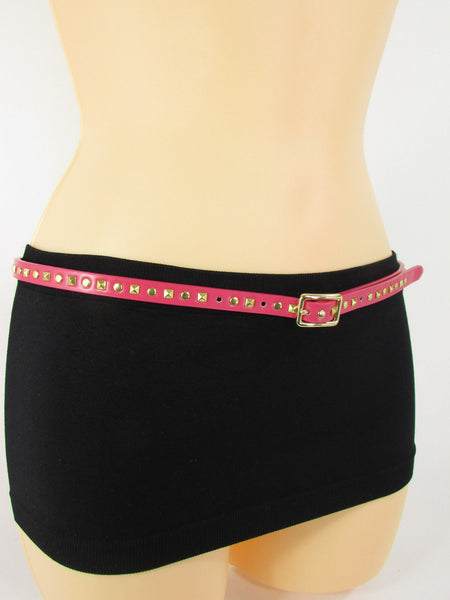 Pink Skinny Narrow Classic Belt Gold Studs Banana Republic New Women Fashion Accessories  XS S M L - alwaystyle4you - 3