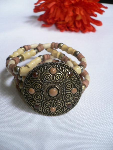 Beige Brown Wood Cream / Brown Bracelet Gold Dots Beads Native Style Fashion New Women Jewelry Accessories - alwaystyle4you - 22