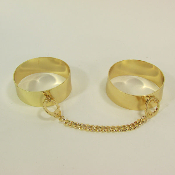 Gold Metal Plate Handcuffs Chain 2 Connected Bracelets Bangles New Women Fashion Jewelry Accessories - alwaystyle4you - 3