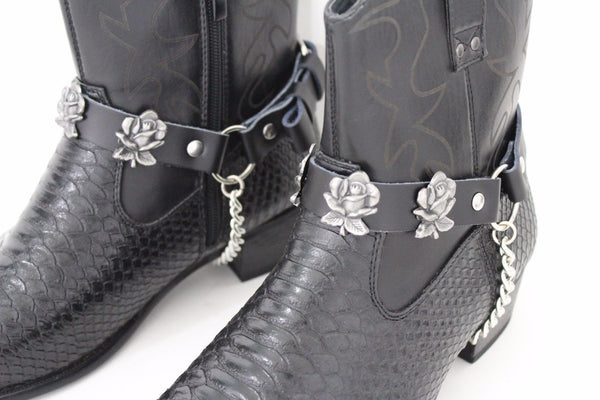Silver Boot Chain Bracelet Pair Black Leather Straps Rose Flowers New Western Women Men - alwaystyle4you - 9