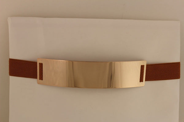 Light Brown (Mocha) / Dark Navy / Royal Blue / Gold Yellow / Black /Red / White Elastic Stretch Back High Waist Hip Belt Gold Metal Mirror Plate New Women Fashion Accessories Plus Size - alwaystyle4you - 4