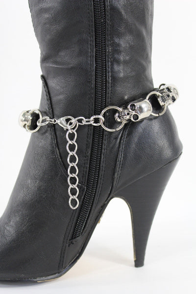 Silver Metal Boot Bracelet Chains Skulls Anklet Shoe Charm New Women Western style Fashion Jewelry - alwaystyle4you - 5