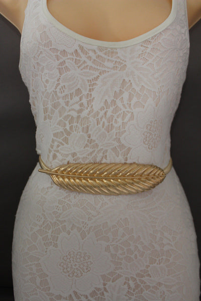 Gold / Silver Metal Hip High Waist Band Elastic Stretch Narrow Sexy Belt Long Leaf Buckle New Women Fashion Accessories S M L - alwaystyle4you - 1