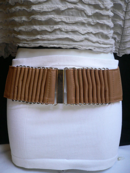 Beige Black Gray Brown Wide Waist Hip Belt Silver Metal Buckle New Women Fashion Accessories XS S M - alwaystyle4you - 38