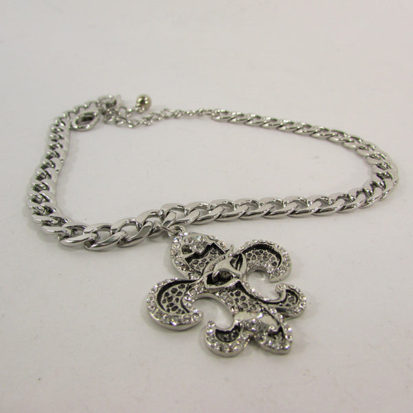 Silver Metal Chain Boot Bracelet Plain Fleur De Lis Lily Flower Charms Football Bull / Rodeo Horse / Horse Bow New Women Fashion Bling Jewelry - alwaystyle4you - 36