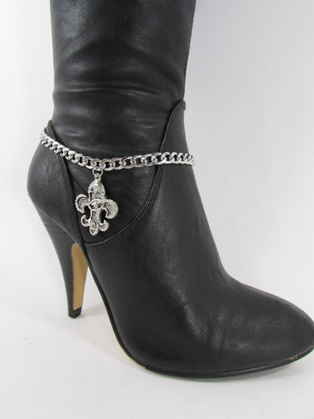 Silver Metal Chain Boot Bracelet Plain Fleur De Lis Lily Flower Charms Football Bull / Rodeo Horse / Horse Bow New Women Fashion Bling Jewelry - alwaystyle4you - 38