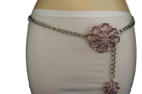 Clear Silver / Blue Silver / Brown Silver / Light Pink Silver Hip Waist Silver Metal Chain Belt Big Flower Buckle New Women Fashion Accessories XS To XL - alwaystyle4you - 35