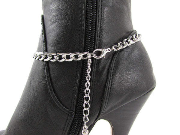 Silver Metal Chain Boot Bracelet Plain Fleur De Lis Lily Flower Charms Football Bull / Rodeo Horse / Horse Bow New Women Fashion Bling Jewelry - alwaystyle4you - 39