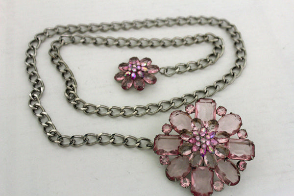 Clear Silver / Blue Silver / Brown Silver / Light Pink Silver Hip Waist Silver Metal Chain Belt Big Flower Buckle New Women Fashion Accessories XS To XL - alwaystyle4you - 36