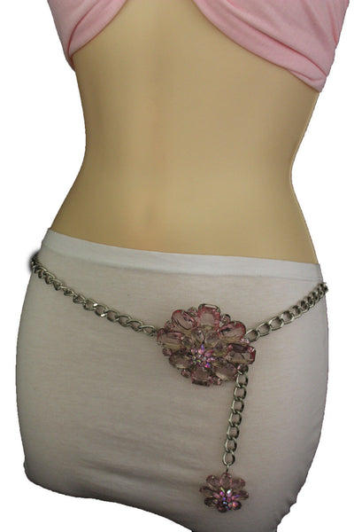 Clear Silver / Blue Silver / Brown Silver / Light Pink Silver Hip Waist Silver Metal Chain Belt Big Flower Buckle New Women Fashion Accessories XS To XL - alwaystyle4you - 37