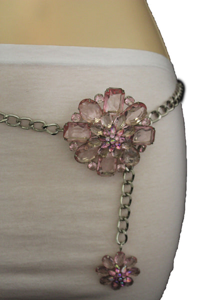 Clear Silver / Blue Silver / Brown Silver / Light Pink Silver Hip Waist Silver Metal Chain Belt Big Flower Buckle New Women Fashion Accessories XS To XL - alwaystyle4you - 38