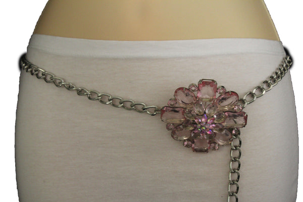 Clear Silver / Blue Silver / Brown Silver / Light Pink Silver Hip Waist Silver Metal Chain Belt Big Flower Buckle New Women Fashion Accessories XS To XL - alwaystyle4you - 4