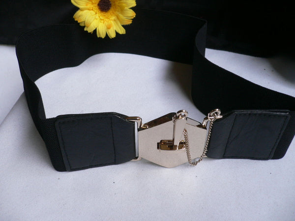Blue Gray / Black /  Beige / Pink Coral Elastic Stretch Faux Leather Belt Gold Buckle Chains Big Cross New Women Fashion Accessories S M L - alwaystyle4you - 53