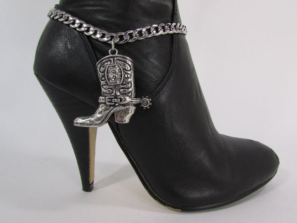 Turquoise / Silver Metal Western Shoe Bling Anklet Charm Boot Chain Bracelet New Women Cowboy Rodeo Fashion - alwaystyle4you - 16