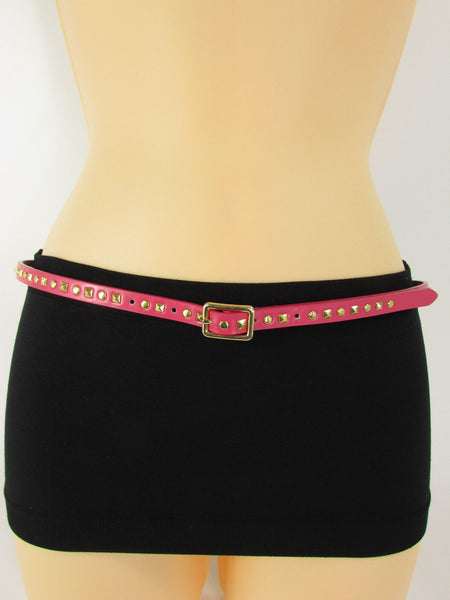 Pink Skinny Narrow Classic Belt Gold Studs Banana Republic New Women Fashion Accessories  XS S M L - alwaystyle4you - 4