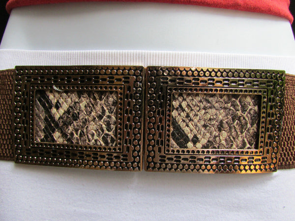 Black / Brown Hip Waist Stretch Belt Snake Print Moroccan Buckle Style Women Fashion Accessories Size S  M - alwaystyle4you - 16
