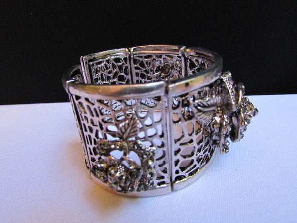 Silver Pewter Elastic Metal Bracelet Rhinestones Roses Flowers New Women Fashion Jewelry Accessories - alwaystyle4you - 3