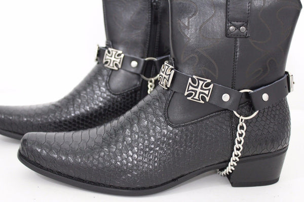 Silver Big Iron Cross Boot Chain Bracelet Pair Black Straps Shoe New Men Western Style - alwaystyle4you - 2