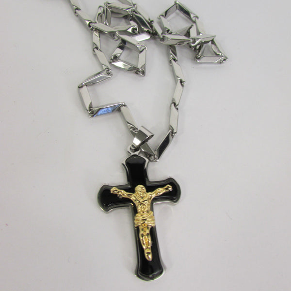 Black Silver Or Gold Cross Pendant New Men Silver Stainless Steel Jesus Christ Metal Chain Necklace - alwaystyle4you - 16