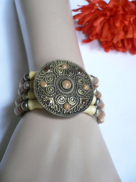 Beige Brown Wood Cream / Brown Bracelet Gold Dots Beads Native Style Fashion New Women Jewelry Accessories - alwaystyle4you - 23